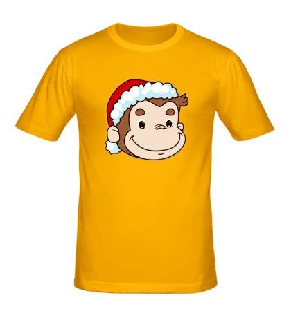 Мужская футболка Обезьянка в шапке Санты