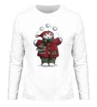 Мужской лонгслив Снеговик со снежками