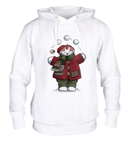 Толстовка с капюшоном Снеговик со снежками