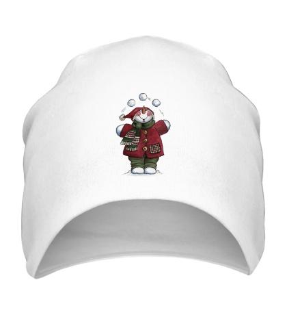Шапка Снеговик со снежками
