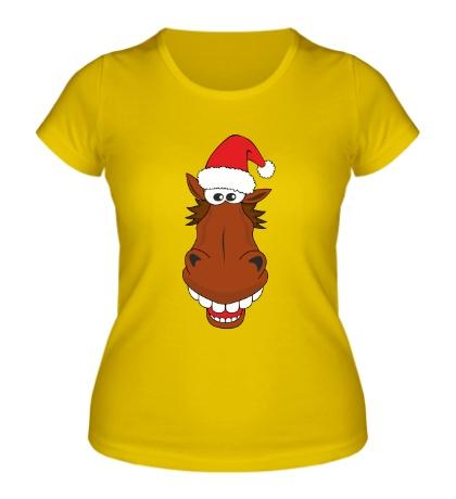 Женская футболка Конь в шапке санты