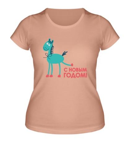 Женская футболка Лошадка: с Новым годом