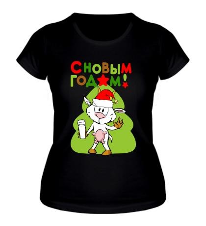 Женская футболка Коза с ёлкой