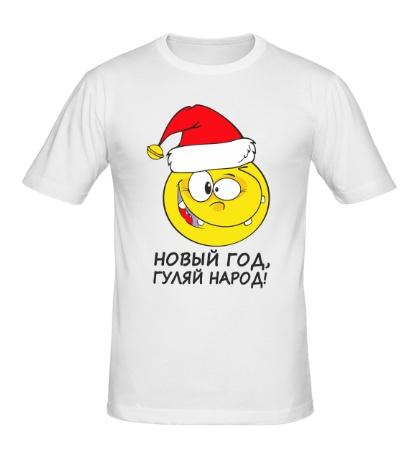 Мужская футболка Новогодний смайлик