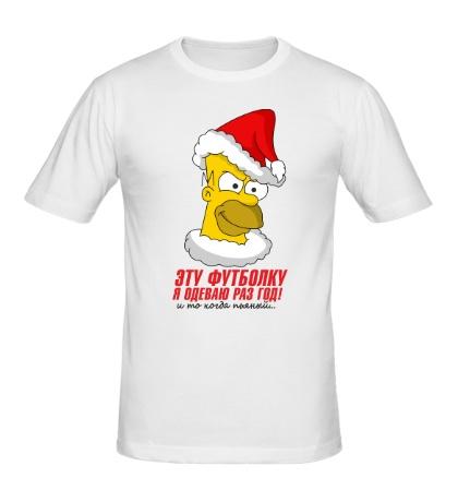 Мужская футболка Гомер в шапке санты