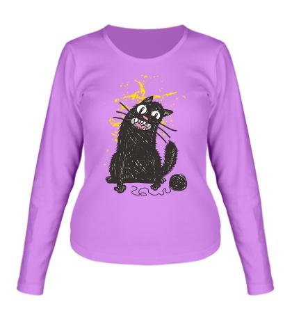 Женский лонгслив Черный кот
