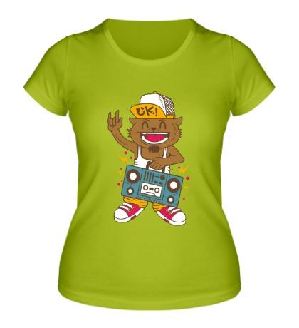 Женская футболка Музыкальный кот