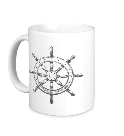 Керамическая кружка Штурвал корабля