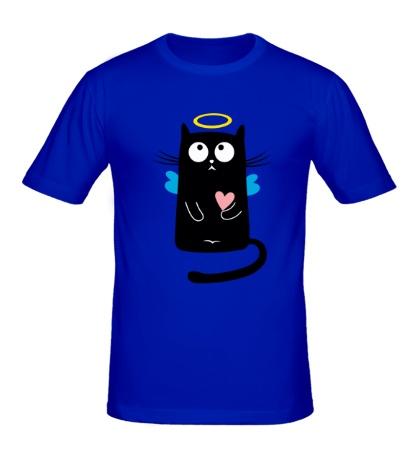 Мужская футболка Кот-ангел, для нее