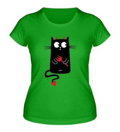 Женская футболка Кот-дьявол, для него