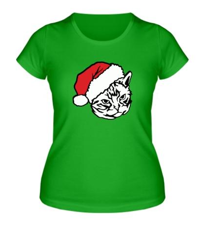 Женская футболка Новогодний кот