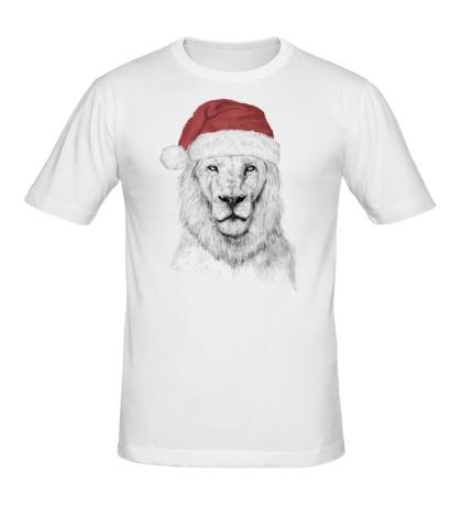 Мужская футболка Лев в шапке Санты