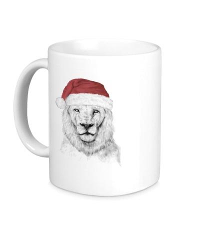 Керамическая кружка Лев в шапке Санты