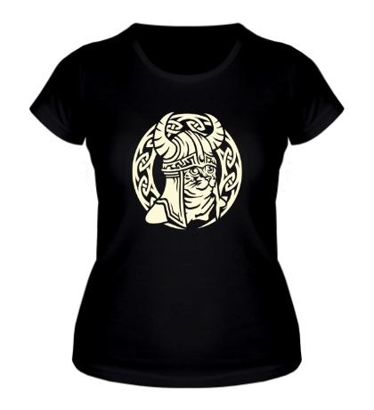 Женская футболка Кельтский кот-викинг
