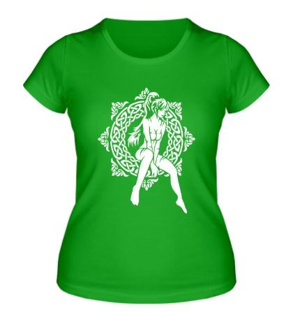 Женская футболка Девушка: кельтский узор