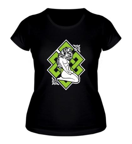 Женская футболка Девушка с кельтским узором