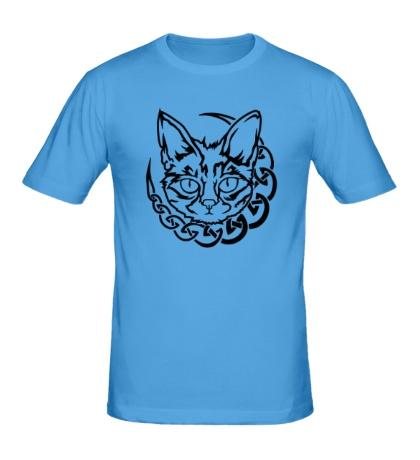 Мужская футболка Кот с кельтским узором