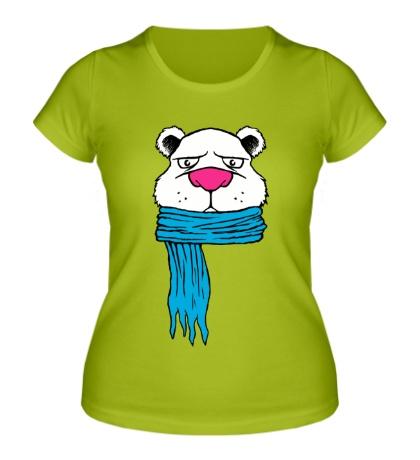 Женская футболка Медведь в шарфе