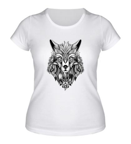 Женская футболка Индейский волк