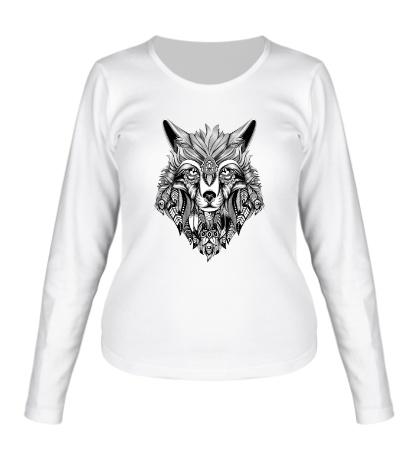 Женский лонгслив Индейский волк