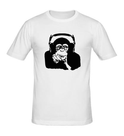 Мужская футболка Обезьяна в наушниках