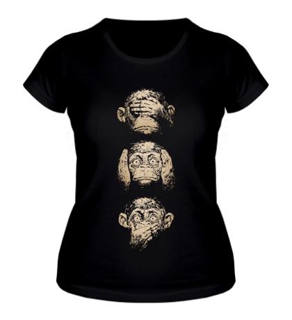Женская футболка Символ трех обезьян