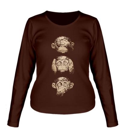 Женский лонгслив Символ трех обезьян