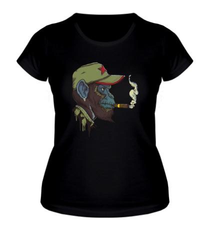 Женская футболка Шимпанзе партизан