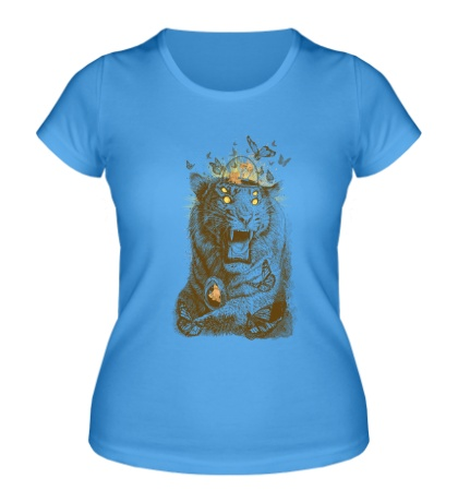 Женская футболка Тигр с бабочками