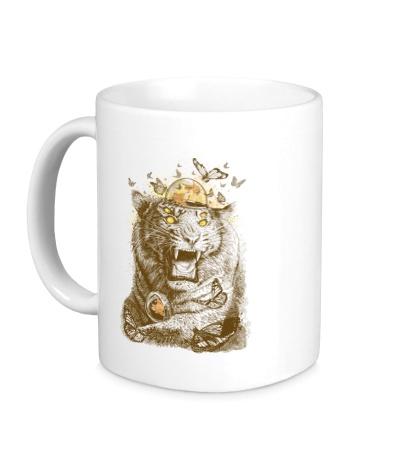 Керамическая кружка Тигр с бабочками