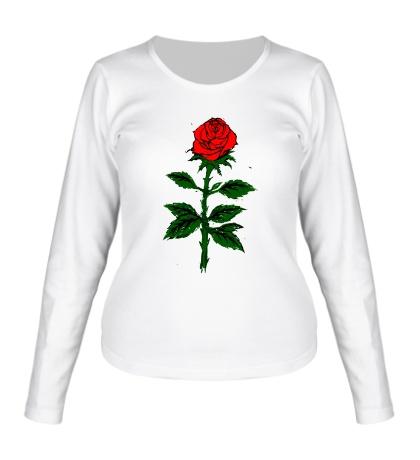 Женский лонгслив Красная роза