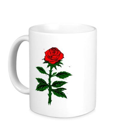 Керамическая кружка Красная роза