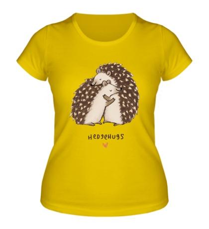 Женская футболка Ёжики обнимаются