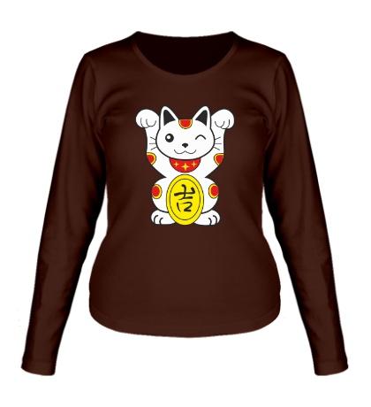 Женский лонгслив Японский котик