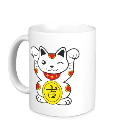 Керамическая кружка Японский котик