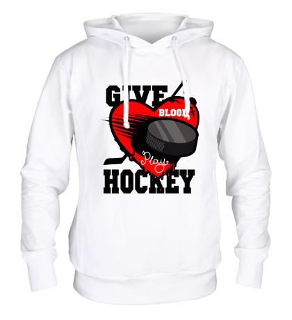 Толстовка с капюшоном Give Blood Hockey