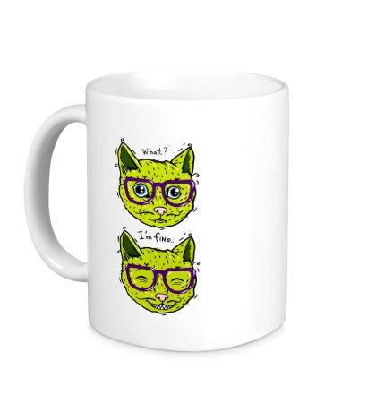 Керамическая кружка Зеленые коты