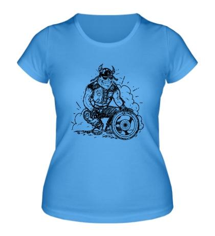 Женская футболка Байкер с колесом