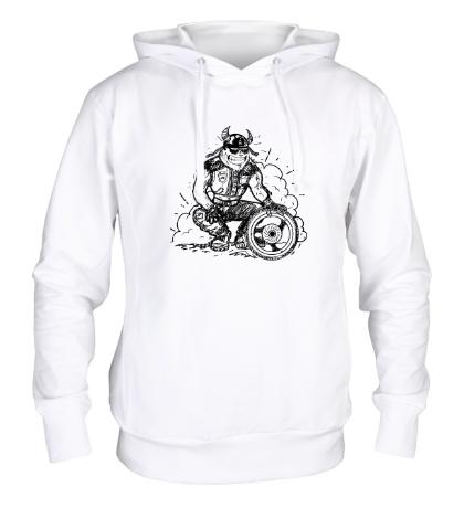 Толстовка с капюшоном Байкер с колесом