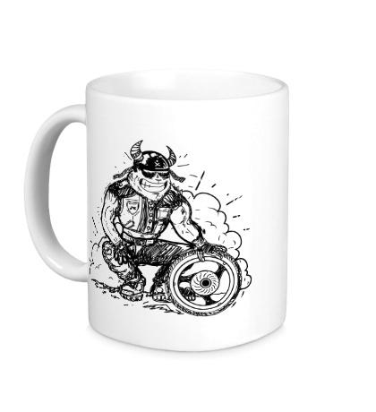 Керамическая кружка Байкер с колесом