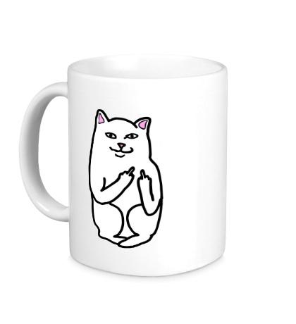 Керамическая кружка Кот показывающий фак
