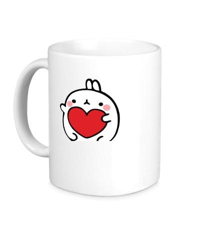 Керамическая кружка Кролик Моланг с сердцем