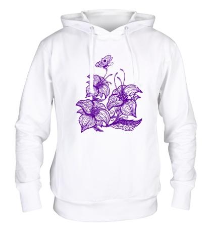 Толстовка с капюшоном Цветы с бабочками