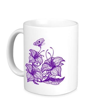 Керамическая кружка Цветы с бабочками
