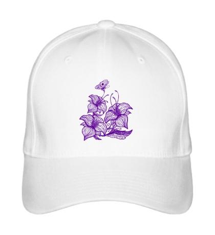 Бейсболка Цветы с бабочками