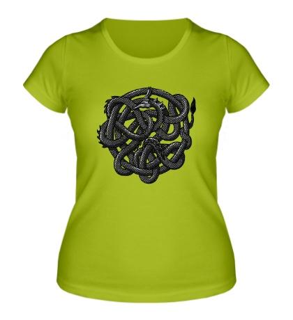 Женская футболка Волшебный дракон чб