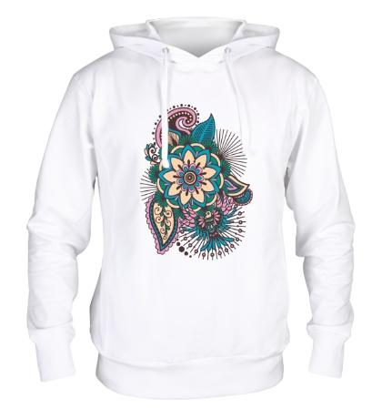 Толстовка с капюшоном Цветок и колибри