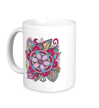 Керамическая кружка Узор из цветов