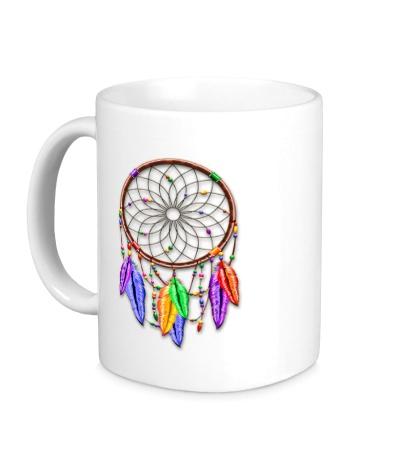Керамическая кружка Dreamcatcher Rainbow Feathers