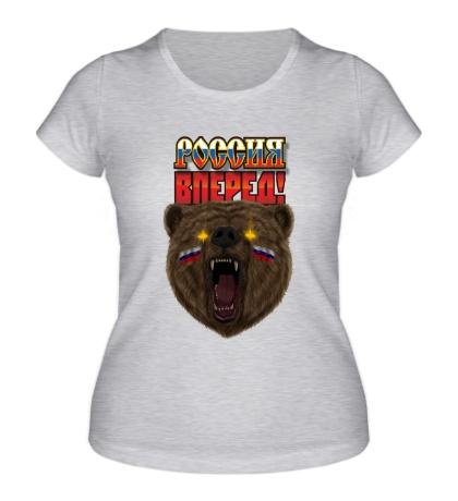 Женская футболка Медведь: Россия вперед
